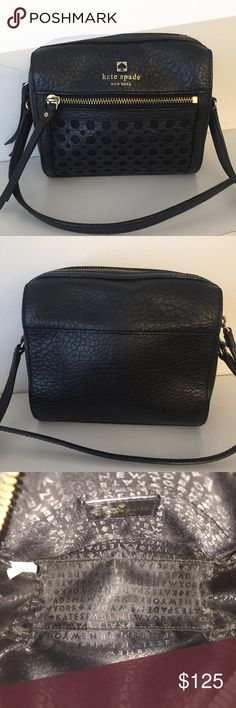 """Kate Spade Perri Lane Bubbles Perforated Black Bag Kate Spade Perri Lane Bubbles Perforated bag in black! This bag measures 6"""" in height and 7"""" in length. Super cute bag in great condition! kate spade Bags Crossbody Bags"""