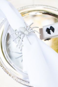 Spider Napkin Rings Halloween Wedding Inspiration