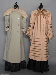 "Two Edwardian Wool Coats, Both wool flannel: 1 baby blue, Battenburg lace cape collar, m.o.p. buttons, black velvet & white braid trim, B 40"", L 50"", (moth holes & small stains) fair; 1 beige w/ tan velvet, silk cord, lace & brocade ribbon trims, B 40"", L 47"""