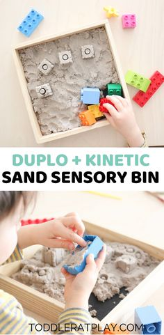 This Duplo   Kinetic Sand Sensory Bin is an easy sensory play idea that will keep your toddlers at play for a long time!  #sensorybin #kineticsand #duplosensorybin #sensoryplay
