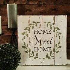 Reclaimed wood sign - Home Sweet Home - Pallet wood sign - Pallet art…