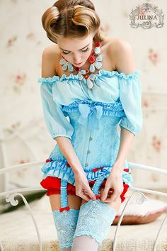 Corset blue Hummingbird lace silk by JulinaCorsets on Etsy