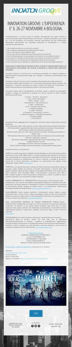 INNOVATION GROOVE: L'EXPOERIENZA E' IL 26-27 NOVEMBRE A BOLOGNA.