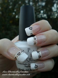 Alpine Snow with black & white heart lace decal french manicure