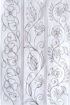 Hand Embroidery Pattern, Hand Drawing Design, Nakshi Katha Design Kantar Design, Hand Drawing D. Hand Embroidery Patterns Flowers, Border Embroidery Designs, Hand Embroidery Stitches, Crewel Embroidery, Vintage Embroidery, Quilting Designs, Machine Embroidery, Embroidery Ideas, Beginner Embroidery
