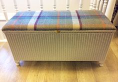 Maycroft Lloyd Loom Repainted Refurbished Reupholstered ottoman in 'Mushroom' with Abraham Moon wool check tartan fabric Painting Wicker Furniture, Art Deco Furniture, Upcycled Furniture, Vintage Furniture, Clear Dining Chairs, Balcony Table And Chairs, Wicker Ottoman, Upholstered Ottoman, Wicker Bedroom