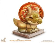 Daily Paint Pizzasaurus - Triceratoppings by Cryptid-Creations on DeviantArt Cute Food Drawings, Cute Animal Drawings, Animal Sketches, Kawaii Drawings, Horse Drawings, Animal Puns, Animal Food, Creature Drawings, Cute Creatures