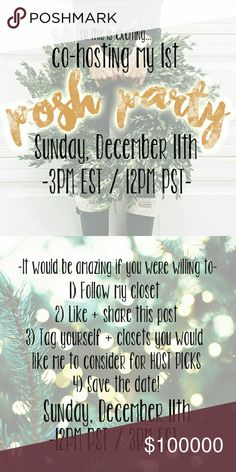 🎆PARTY THEME IS: BEST IN DRESSES + SKIRTS!🎆 Hey Poshers!! I am so excited to announce that I will be co-hosting my 1st POSH PARTY on Sunday, December 11th - 12PM PST // 3PM EST!!! Please tag yourself + your favorite closets below to help spread the word + be possible host picks!  Theme to be announced!! Thanks so much! -Katie Anthropologie Dresses