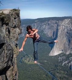 Dean Potter the slackline walker - who is also a rock climber - has carried out death-defying stunts at Yosemite National Park. From clinging to the edge of cliffs with no safety rope to delicately perching on an inch-thick highline 2,600ft above Yosemite falls, Potter pushed himself to the limit to conquer incredible heights last year.