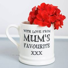 A gorgeous earthenware mug designed by us.The perfect mug for Mum. Not only a gift for her but also a chance to wind up your siblings every time she has a cuppa! We also make similar mugs in this range for dad, brothers and sisters and also matching birthday and Christmas cards to really drive the message home! Dishwasher safe.Earthenware. Width 8.5cm (exc handle), Height 9cm.