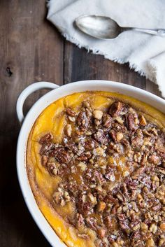 Squash Casserole with Maple Nut Praline #Thanksgivingrecipe #sidedish