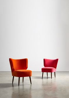 The DUKE Cocktail Chair, in, from left: Zinnia and Schiaparelli Velvet. An interiors essential inspired by 1950s design. Featuring a subtle wingback and hand-stitched channels, it's a cocktail chair that's dressed to impress.