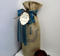 10 Burlap Wine Bags - Table number  - with Ribbon - Personalized - Tag. $87.00, via Etsy.