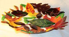Fused Glass Leaf Bowl.