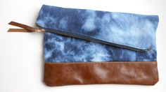 The Windward   Canvas & Leather  Foldover Clutch by 39northdesigns, $46.00
