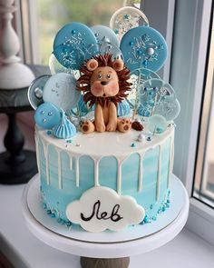 1st Birthday Cake For Girls, Baby Birthday Cakes, Baby Boy Cakes, Cakes For Boys, Baby Shower Cakes, Fondant Cakes, Cupcake Cakes, Cupcakes, Lion Cakes