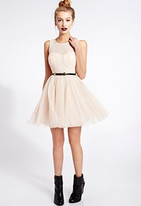 Forever 21's cream tulle dress with sheer top and sweatheart