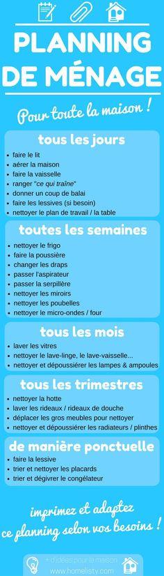 [TÉLÉCHARGEMENT GRATUIT] : Planning De Ménage Pour La Maison !...
