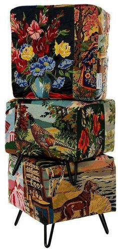 Repurposed Items, Upcycled Vintage, Repurposed Furniture, Furniture Making, Cool Furniture, Sculpture Textile, Pouf Chair, Deco Boheme, Creation Deco