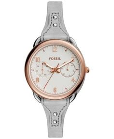 Fossil Women's Tailor Gray Leather Saddle Strap Watch 35mm ES4048   macys.com