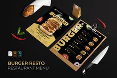 Burger | Restaurant Menu #menu #food #cafe #vector #template #restaurant #design #illustration #coffee #dessert Restaurant Menu Template, Burger Restaurant, Burger Bar, Restaurant Design, Great Restaurants, Food Menu, Design Bundles, Flyer Design, Dessert