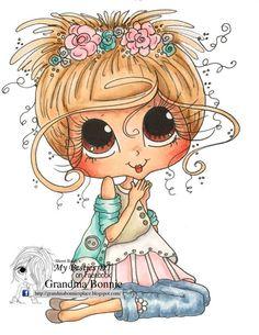 Sherri Baldy Say a little Prayer Girl My Besties digi stamp Besties, Adorable Petite Fille, Big Eyes Artist, Line Art Images, Gothic Culture, Little Prayer, Ragamuffin, Eye Art, Digi Stamps
