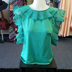 Green Tea Top Ruffled sleeve and neck jade green top Tops Blouses