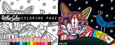 cat and bird coloring, cats coloring book, adult coloring book, coloring pages, adult coloring pages, coloring book for adults