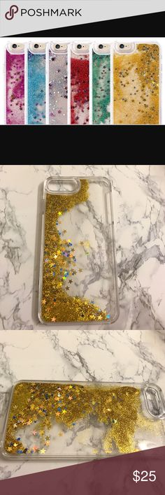 Liquid glitter iPhone 7 plus case ✨ A super cute golden waterfall iPhone 7 plus case. Glitter inside slides down like a waterfall. Never used. Accessories Phone Cases