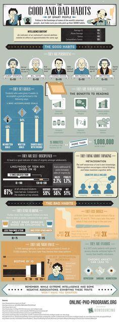 Los buenos (y malos) hábitos de las personas inteligentes - Forbes #infografía