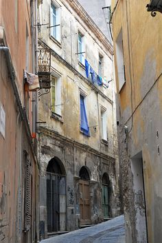 Beautiful streets of Sassari in Sardegna island