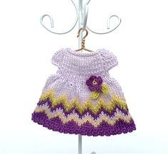 Doll clothes miniature knitted dress for 3.5 - 4 inches dolls/Dollhouse dress with crochet flower by AnnaToys on Etsy