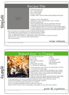 Recipe card template - room for writing and a small photo