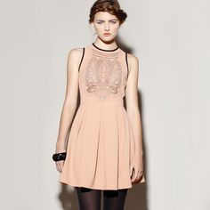 Fab.com | Night in Barcelona Dress Blush. Couture skater dress!! Love it!! black + blush! #pow