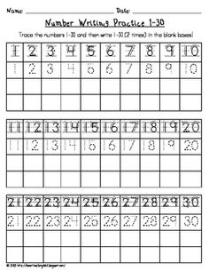 Number Writing Practice 1-30 FREE