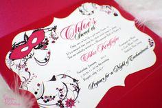 Masquerade Invitation  Frame Shape Invitation card by SDezigns