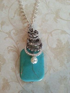 Turquoise pendant necklace with pearl bead.Craft ideas from LC.Pandahall.com    #pandahall