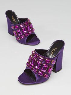 3ce24a8fbd98 Gucci Iris Violet Satin Bejeweled Open Toe Mule Sandals Size 6.5 37