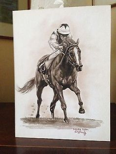 Superb Watercolour of Racehorse Bosra Sham signed and framed | #541568683