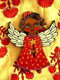 folk angel painting  | DEEZDEN: ETSY Update: Folk art ''Angels'' Christmas Ornaments
