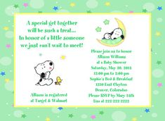 Baby Snoopy Moon and Stars Shower Invitation