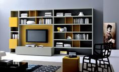Furniture. Attractive Contemporary Bookshelf Designs. Charming Gray Yellow Contemporary Bookshelf Design Come With Black Tv And Gray Wall Plus Brown Painting Along With Yellow Pouffe Also Black Chair Plus White Floor Tile As Well As Black Coffee Table. Contemporary Bookshelves Designs