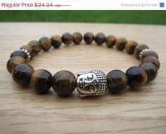 Tiger Eye #Buddha Bracelet Mens by BohemianChicbead #Tigereye #protection #meditation #yogabracelet