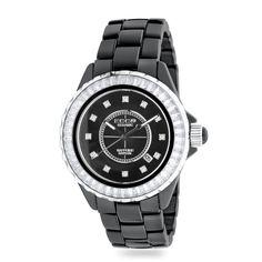 ECC Stone Set Black Ceramic Watch
