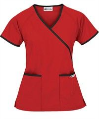 UA Best Buy Scrubs Contrast Mock Wrap Top in royal and black because the CMA program students are royal blue but we were told as long as we wore scrubs we could wear whatever color/style we want to. Scrubs Outfit, Scrubs Uniform, Spa Uniform, Cute Nursing Scrubs, Healthcare Uniforms, Buy Scrubs, Latest African Fashion Dresses, Medical Scrubs, Scrub Tops