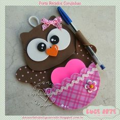 Doce Arte by Pati Guerrato Kids Crafts, Owl Crafts, Diy And Crafts, Arts And Crafts, Paper Crafts, Owl Card, Felt Owls, Owl Always Love You, Craft Fairs