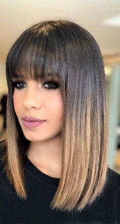 Coole Haare Hairstyles with bangs Wedding Dress Trends - Top Wedding Dress Styles for the Modern Bri Brown Ombre Hair, Brown Blonde Hair, Brown Hair Bangs, Ombre Bob Hair, Bangs Short Hair, Soft Brown Hair, Thin Bangs, Medium Hair Styles, Curly Hair Styles
