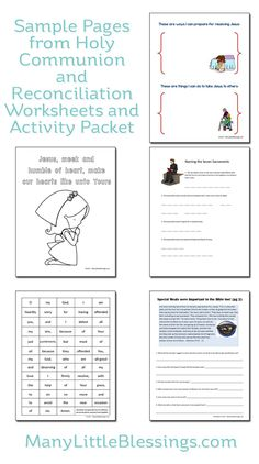 Holy Communion and Reconciliation Worksheet and Activity Packet- Why wait? If you have a loved one entering their year of preparation for First Holy Communion this will be a big help.