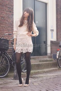 grey lace skirt, backseam tights, heels, red/blue shirt yes #pantyhose #sexy #ladies #women #ladyproducts #lush #smooth #fashion #stunning #legs #glamour
