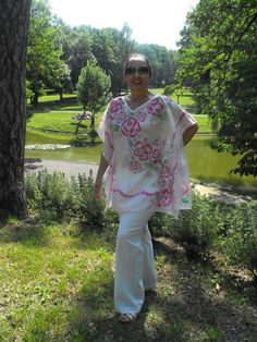 The kaftan for summer - 100% silk Habotai, hand  painted - Ivana Cifranic